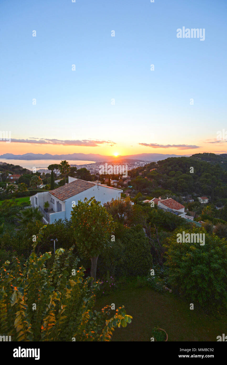 Panoramic views of Cannes taken from Super Cannes on the south coast of France - Stock Image