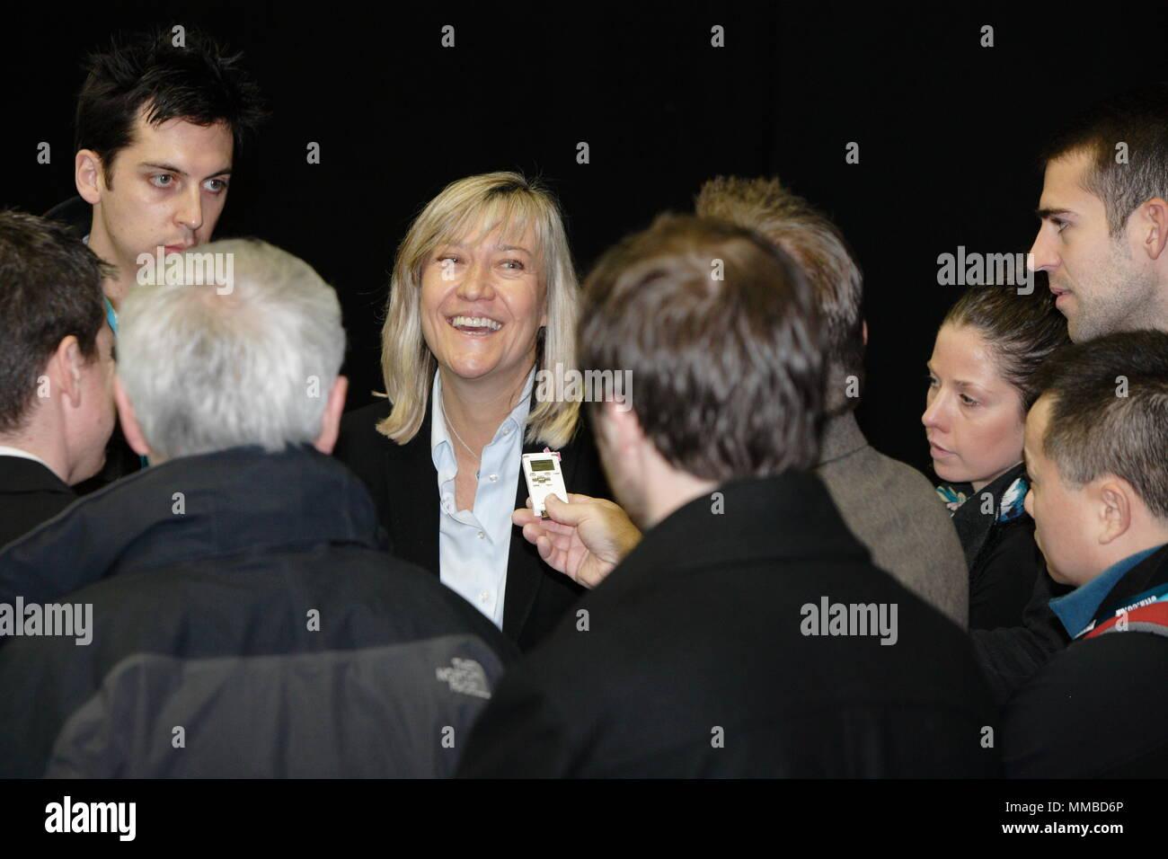 UK Sport - London 2012 Olympic test event Table Tennis, Debbie Jevans, director of sport Games organisers Locog gives media interviews, Excel London. 23 November 2011 - Stock Image