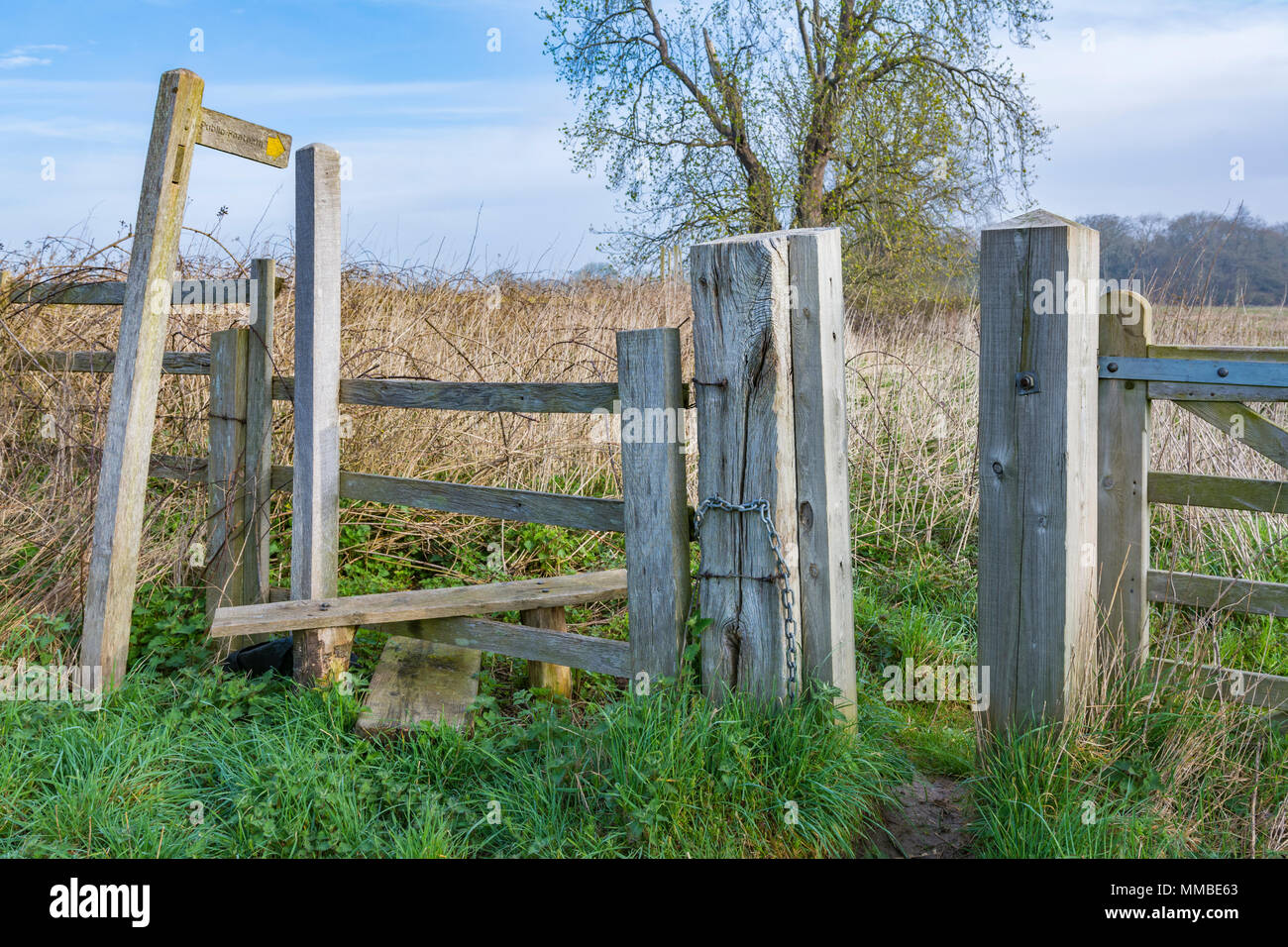 Wooden stile into a field on a public footpath in West Sussex, England, UK. - Stock Image