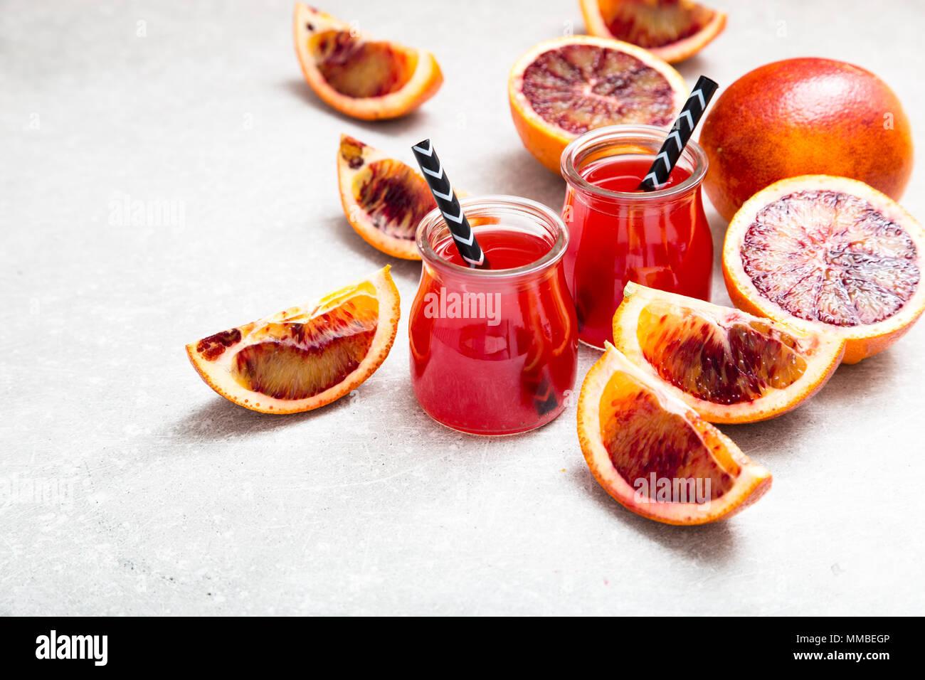 blood orange juice. red orange juice with orange slice. Healthy drink. - Stock Image
