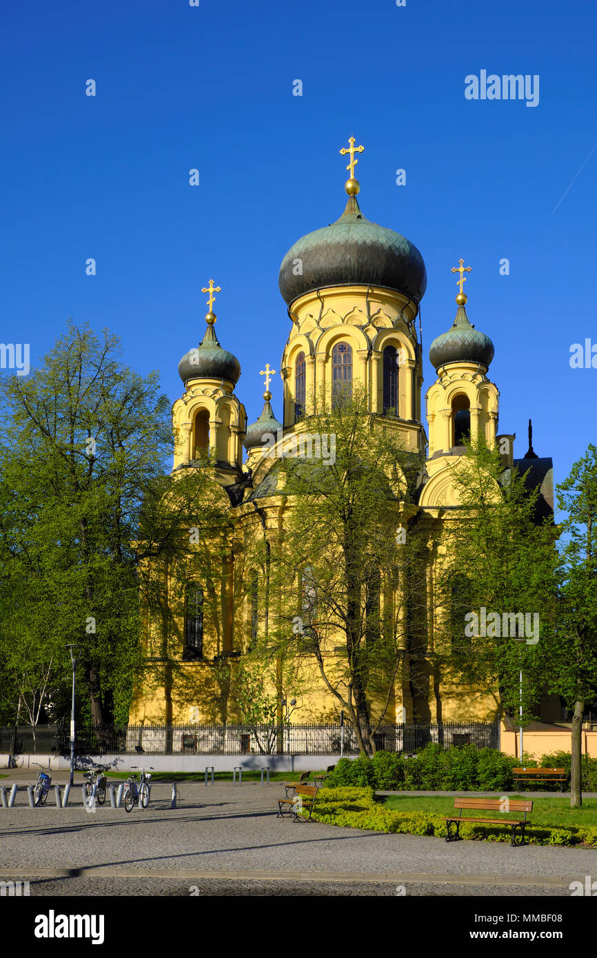 Warsaw, Mazovia / Poland - 2018/04/22: Metropolitan Orthodox Cathedral of the Holy and Equal-to-the-Apostles Mary Magdalene in Praga district of easte - Stock Image