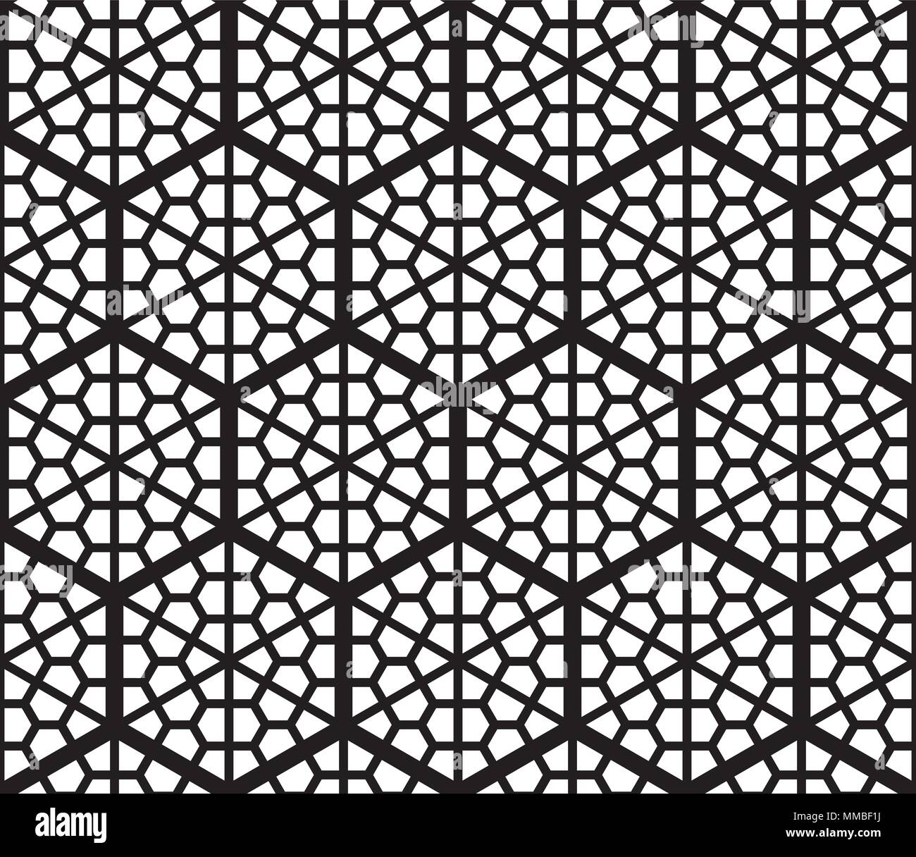 Seamless Geometric Pattern Based On Traditional Japanese Kumiko Patterns  .Grid Of Hexagons Of Large Thickness.