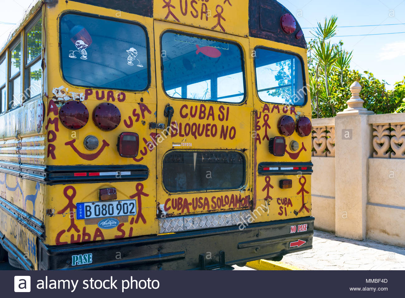 Pastors for Peace bus (rear part). The transportation vehicle is covered on letters promoting the Cuba-USA friendship. - Stock Image