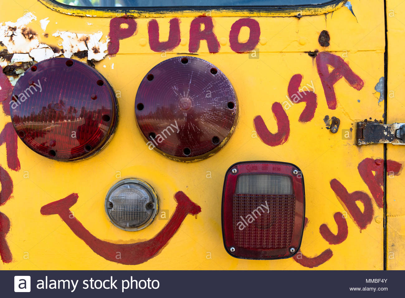 Pastors for Peace truck detail: The vehicle is full of letters promoting the friendship between Cuba and the United States. - Stock Image