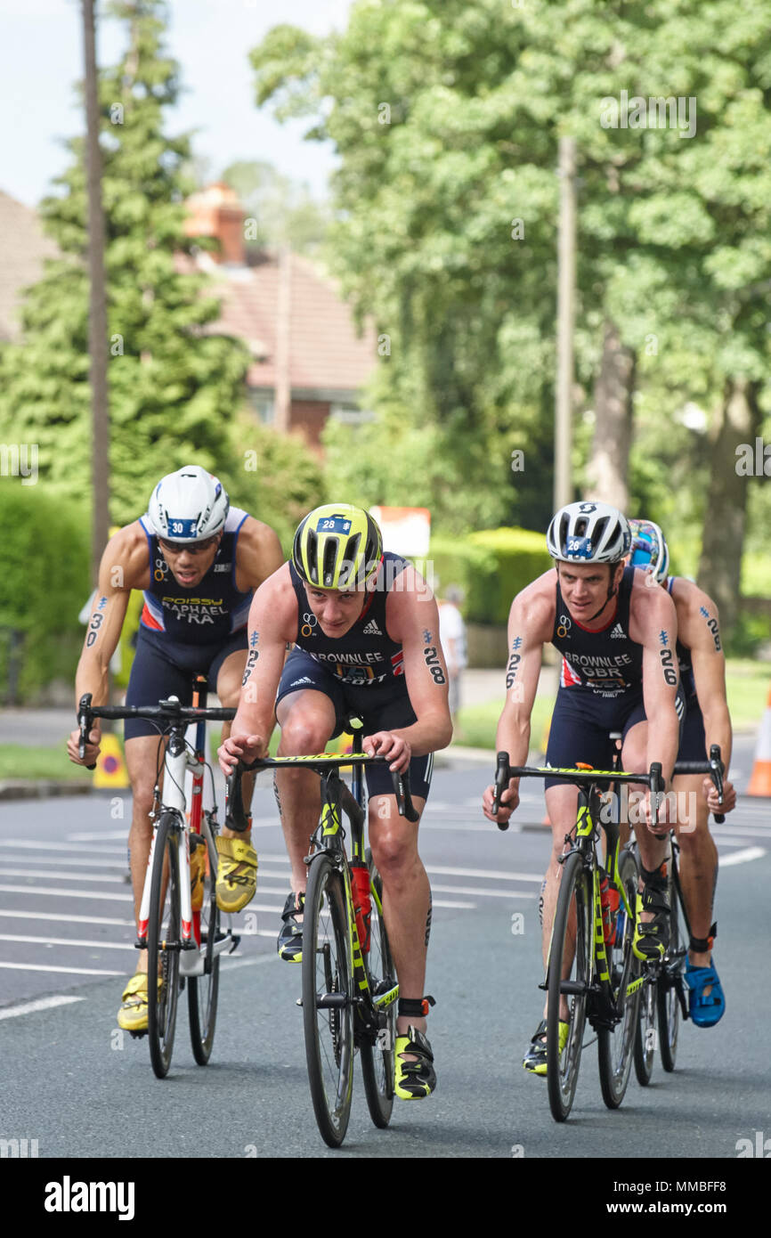 Alistair and Jonathan Brownlee of the UK and Aurelian Raphael of France competiting in the 2017 Columbia Threadneedle World Triathlon Leeds. - Stock Image