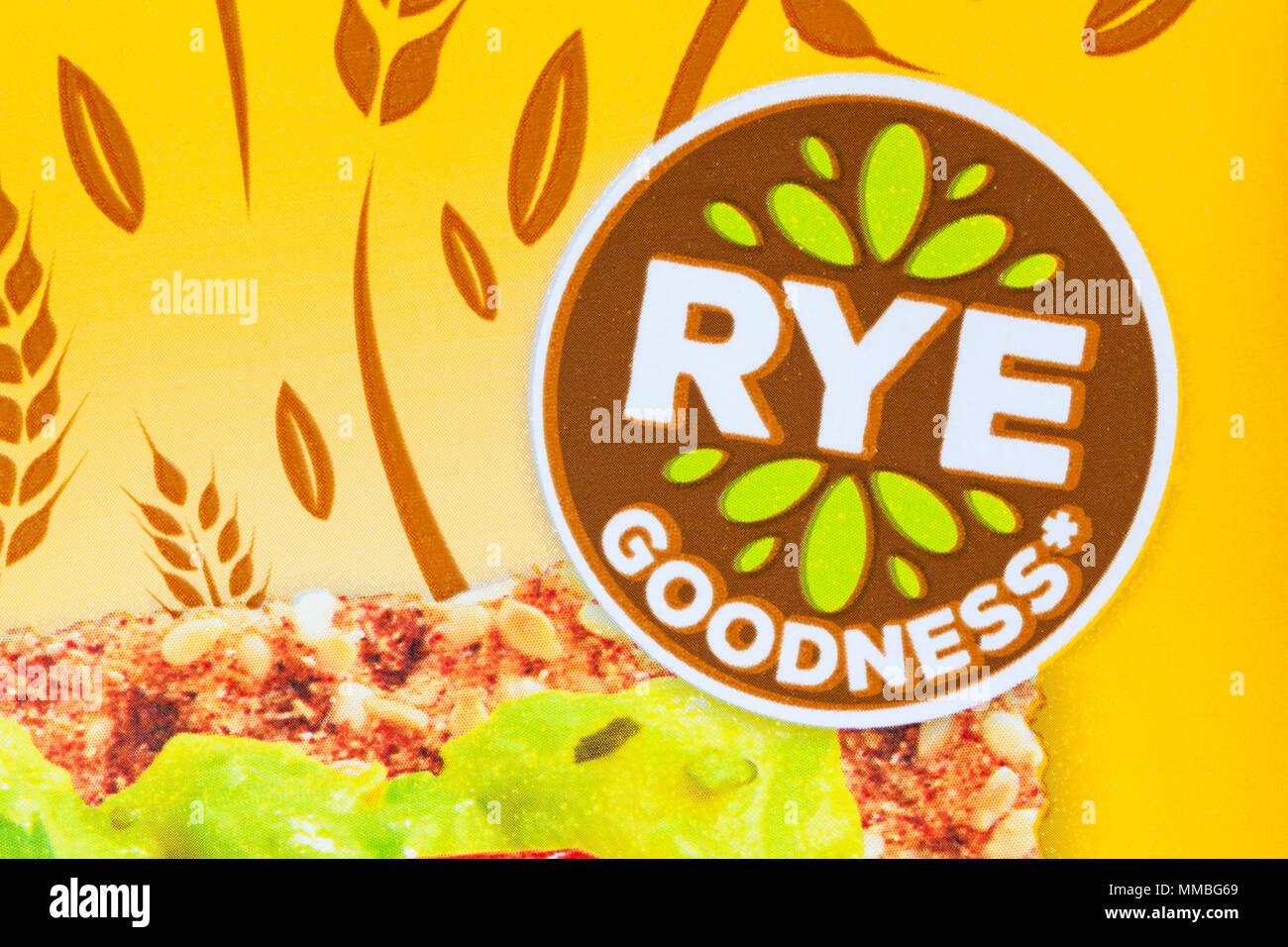 Rye Goodness detail on pack of Ryvita simply sesame crunchy rye breads - Stock Image