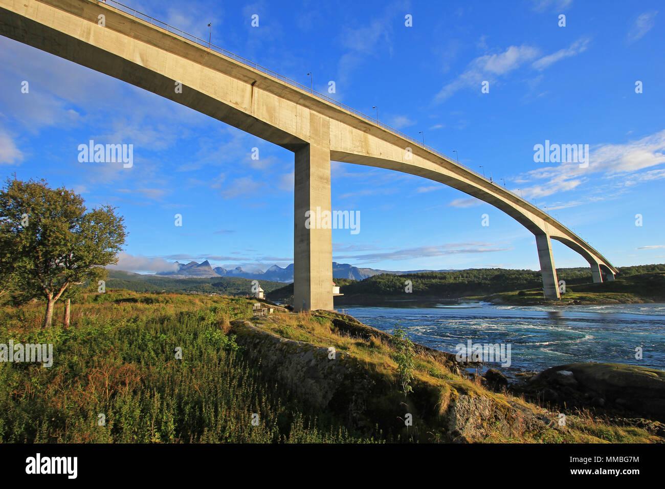 Bridge over the fjord of the whirlpools of the maelstrom of Saltstraumen, Nordland, Norway, Scandinavia Stock Photo