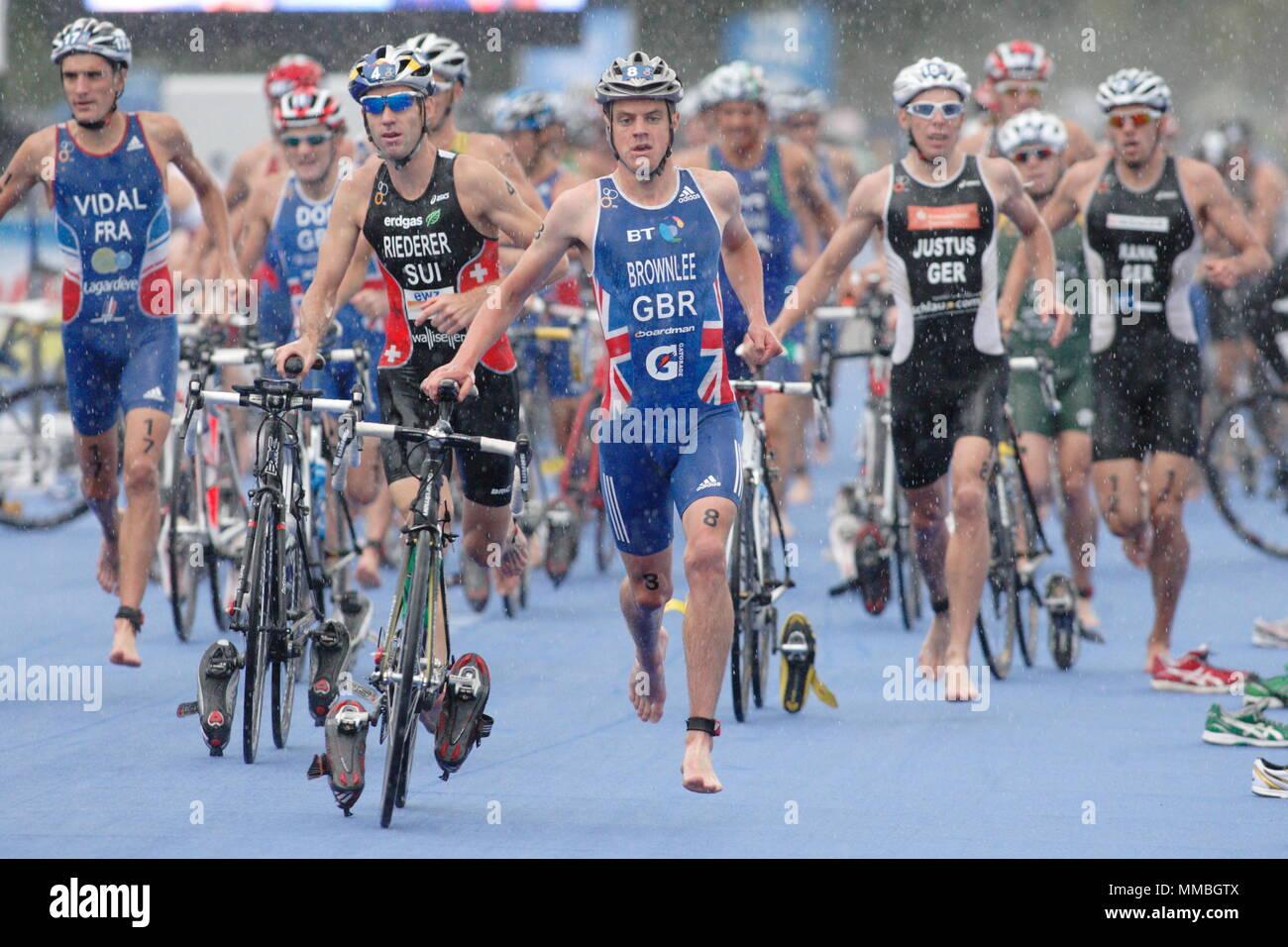 UK - Triathlon - Transition - Elite Men ITU World Championship Dextro Energy Triathlon London, 7 August 2011 - Stock Image