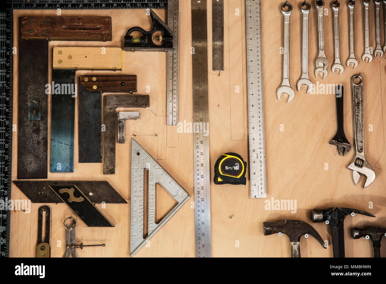 Close Up Of A Selection Of Tools On A Wall In A Woodworking Workshop