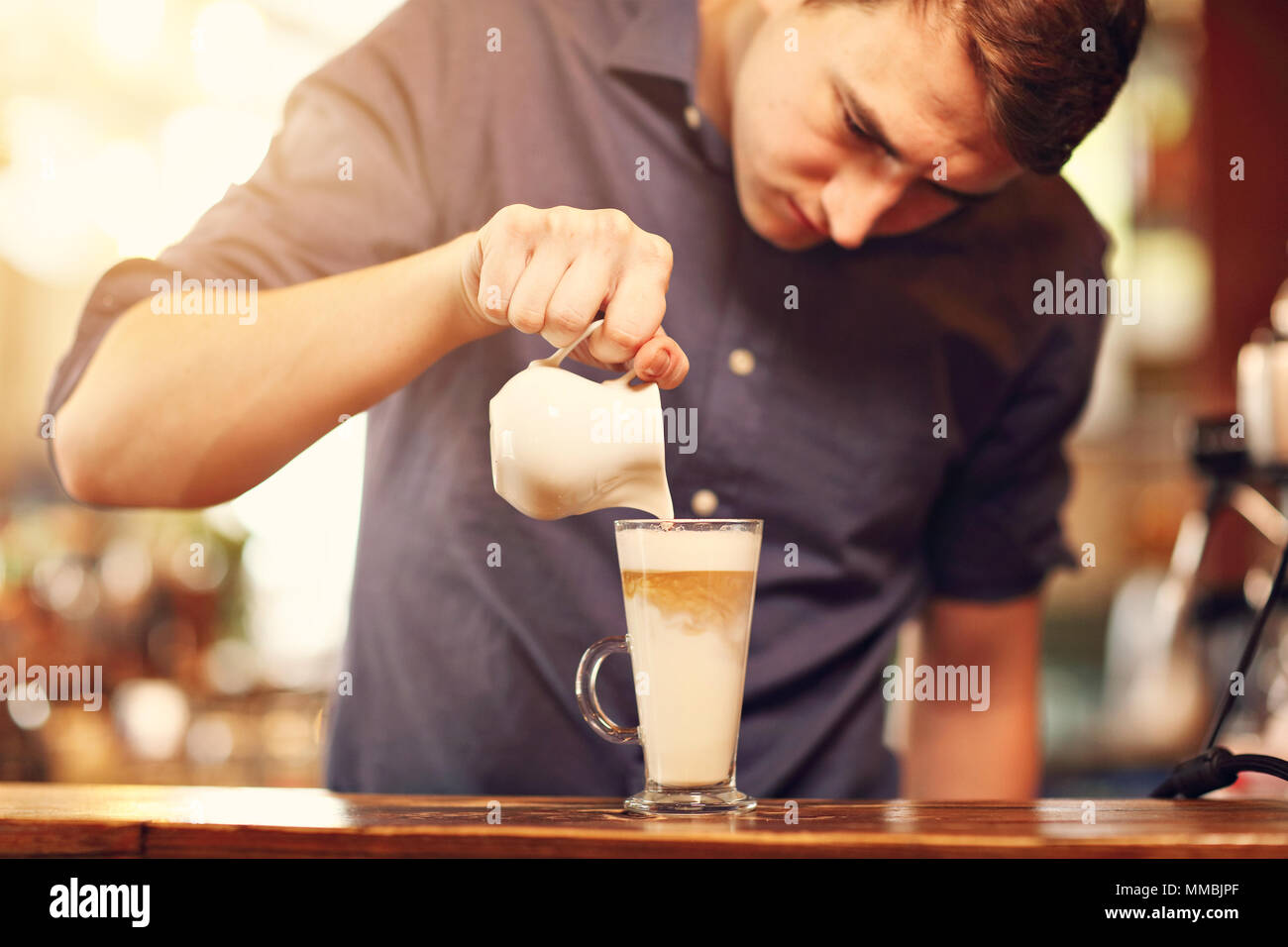 Barista Cafe Making Coffee Preparation Service Concept - Stock Image