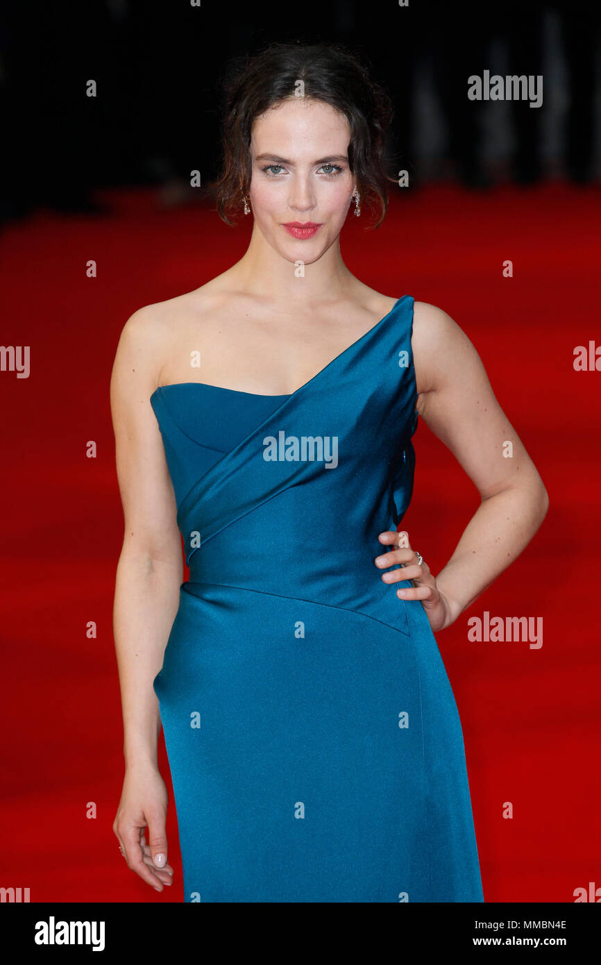 The World Premiere of 'The Guernsey Literary and Potato Peel Pie Society' held at the Curzon Mayfair - Arrivals  Featuring: Jessica Brown Findlay Where: London, United Kingdom When: 09 Apr 2018 Credit: Mario Mitsis/WENN.com - Stock Image