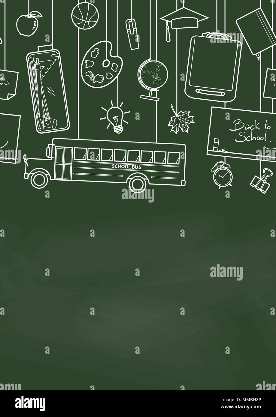 Seamless pattern of school supplies hang from top on green ...