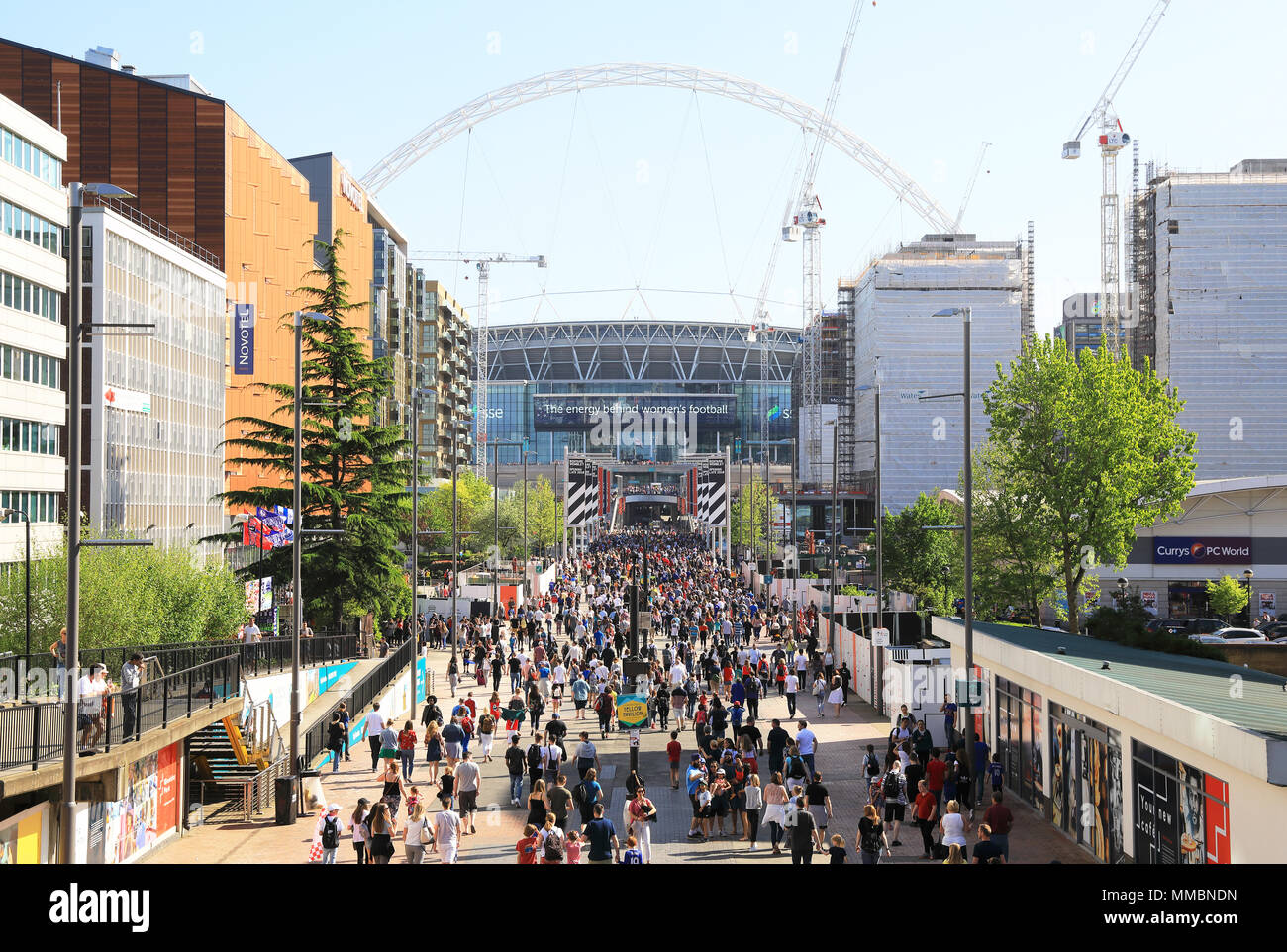 View of Wembley Stadium, from Olympic Way, home of the national England football team, in west London, UK - Stock Image