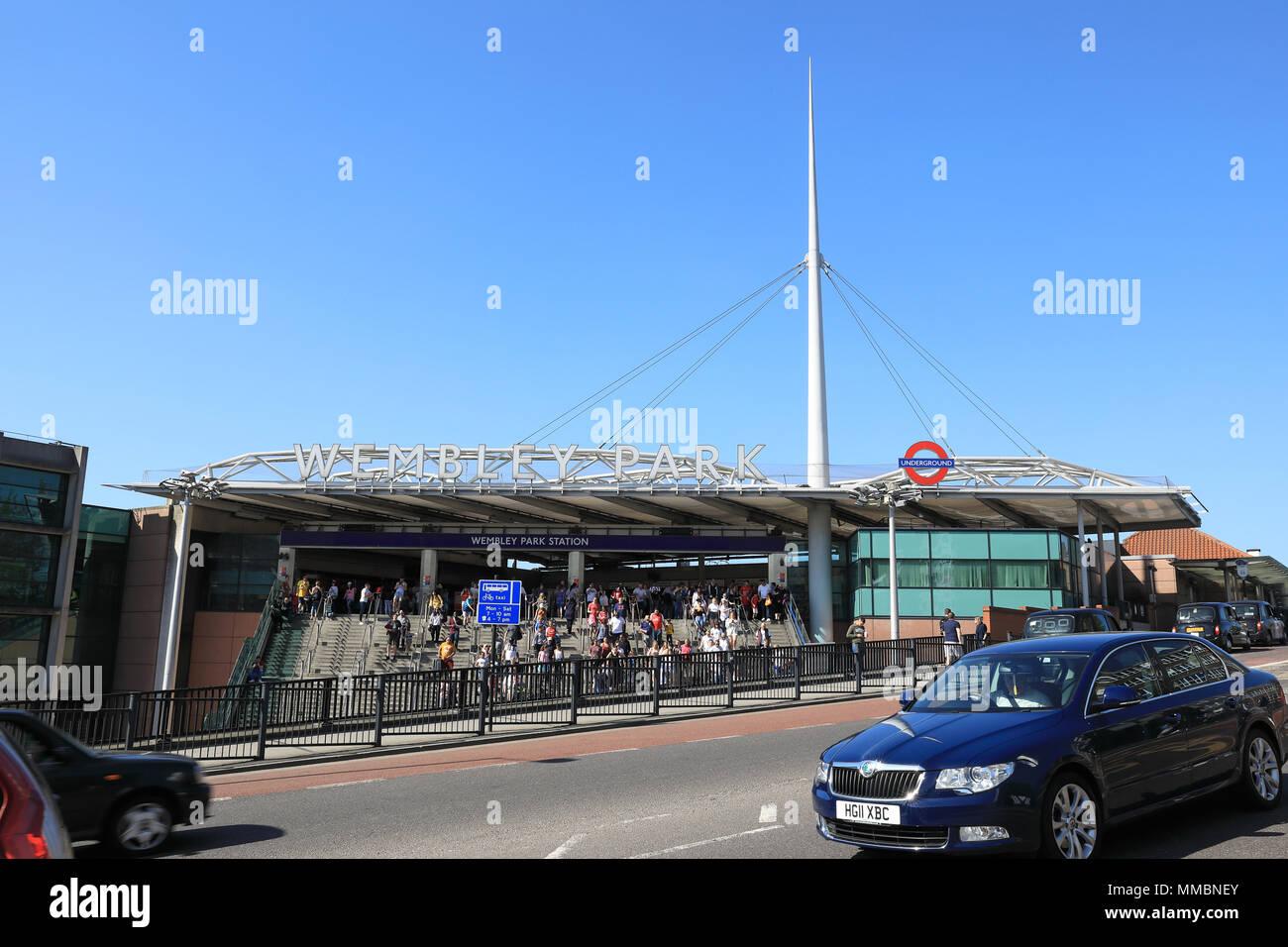 Wembley Park tube station for visiting Wembley Stadium, in NW London, UK - Stock Image