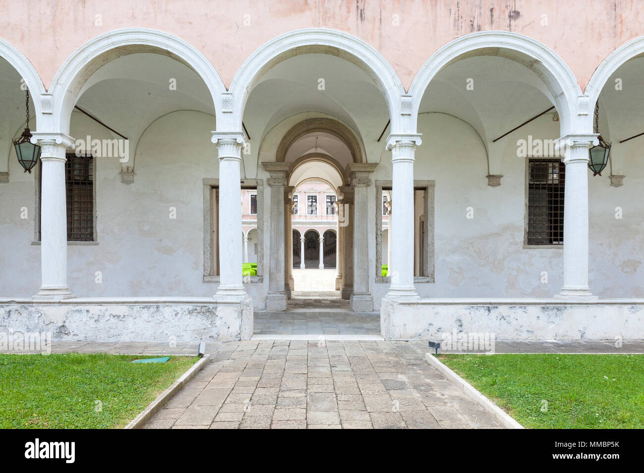 The Rennaissance Cypress Cloisters  in the Benedictine Monastery part of the Cini Foundation,  island of San Giorgio Maggiore, Venice, Veneto, Italy Stock Photo