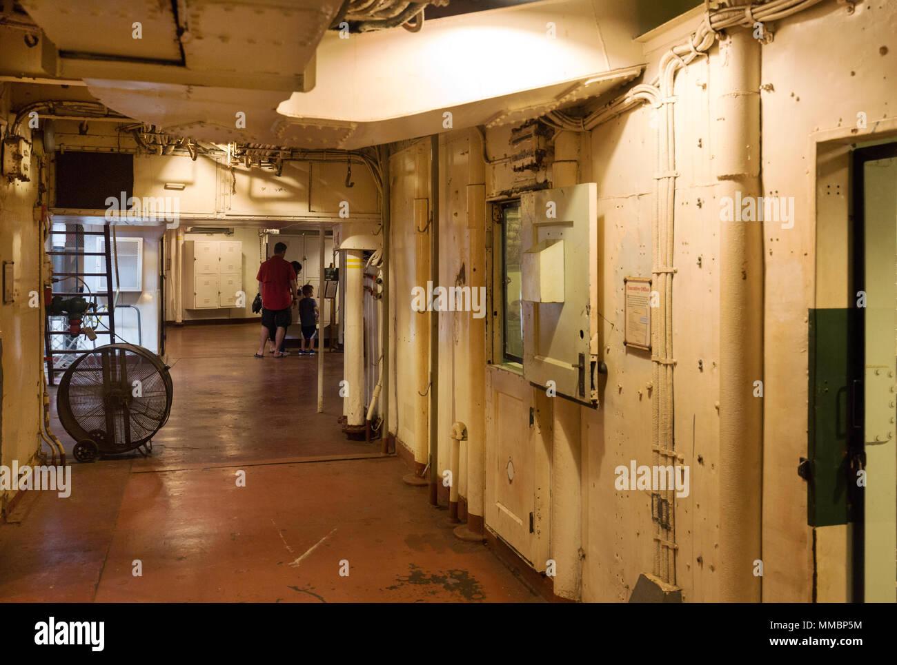 Below decks aboard the Battleship Texas; Houston, Texas USA - Stock Image