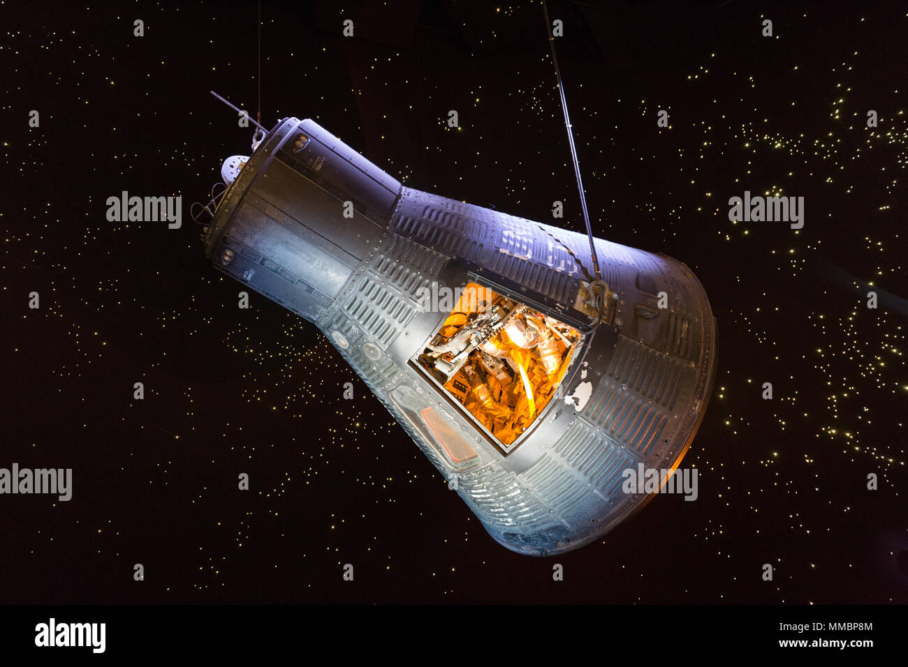 Original Mercury spacecraft, Faith 7, Johnson Space Center, NASA, Houston Texas USA - Stock Image