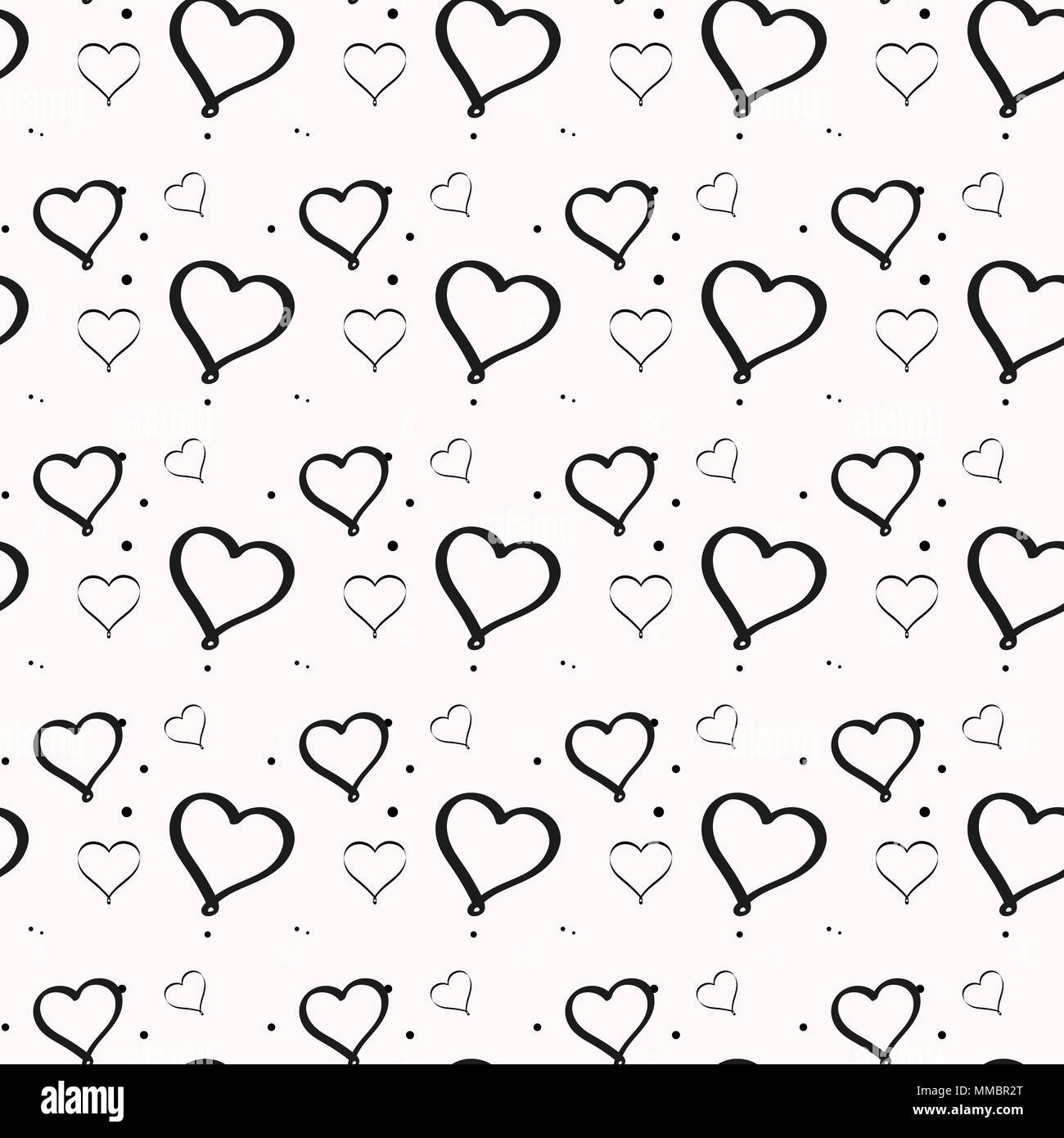 Black And White Minimalist Heart Seamless Pattern For Nursery