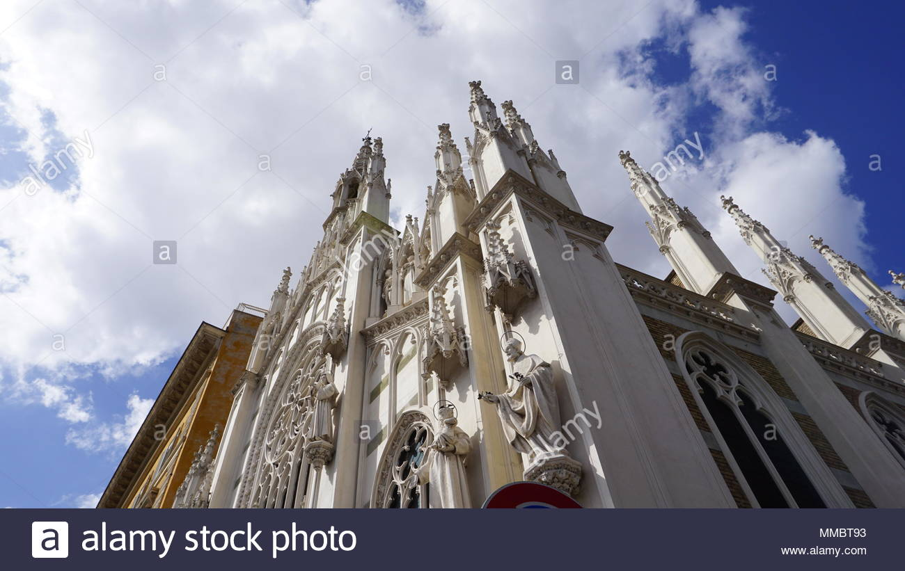 gothic church view from below on a sunny day - Stock Image
