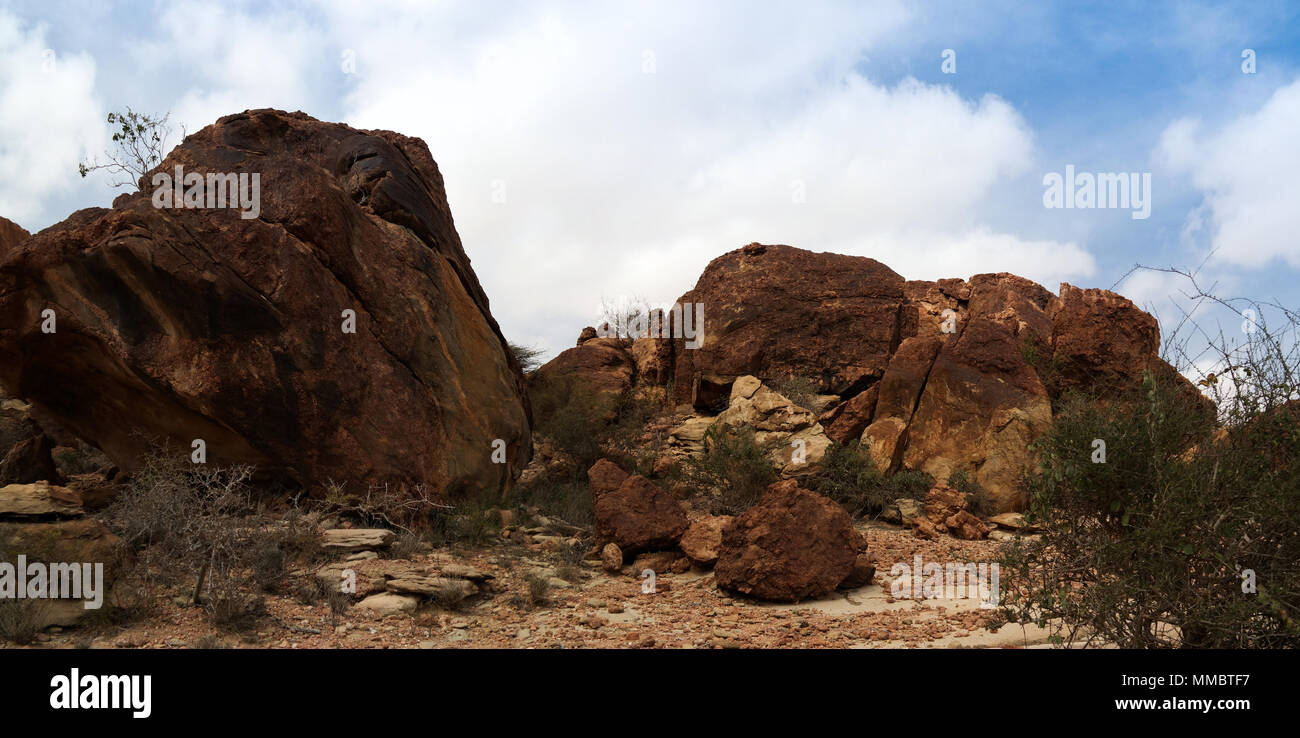 Cave paintings Laas Geel rock exterior near Hargeisa, Somalia - Stock Image