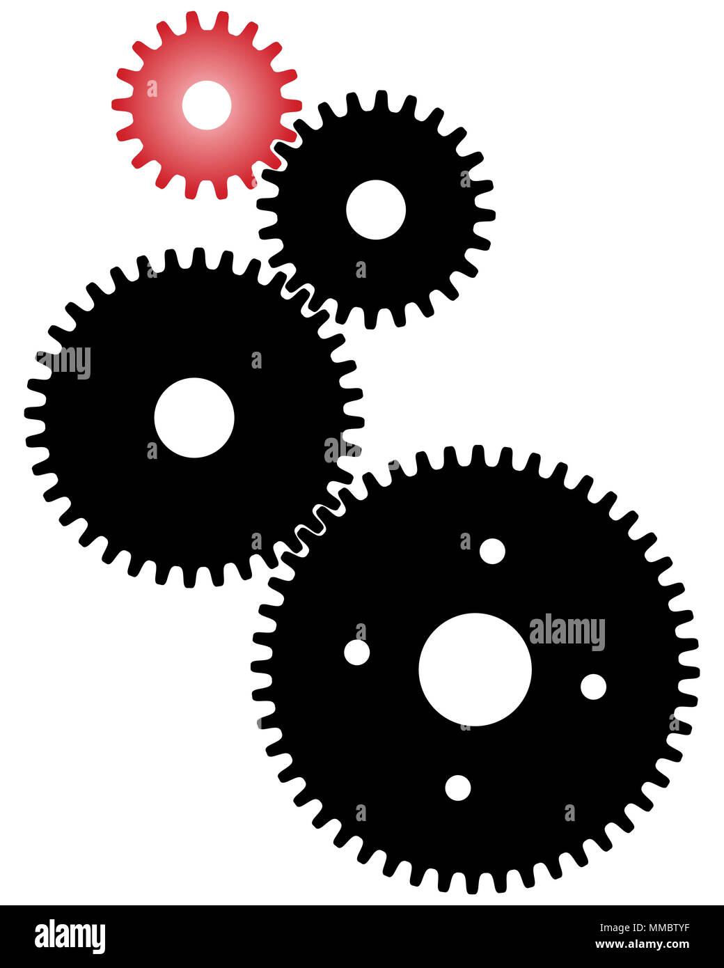 Black And Red Gears For Teamwork Symbolism Stock Photo 184657859