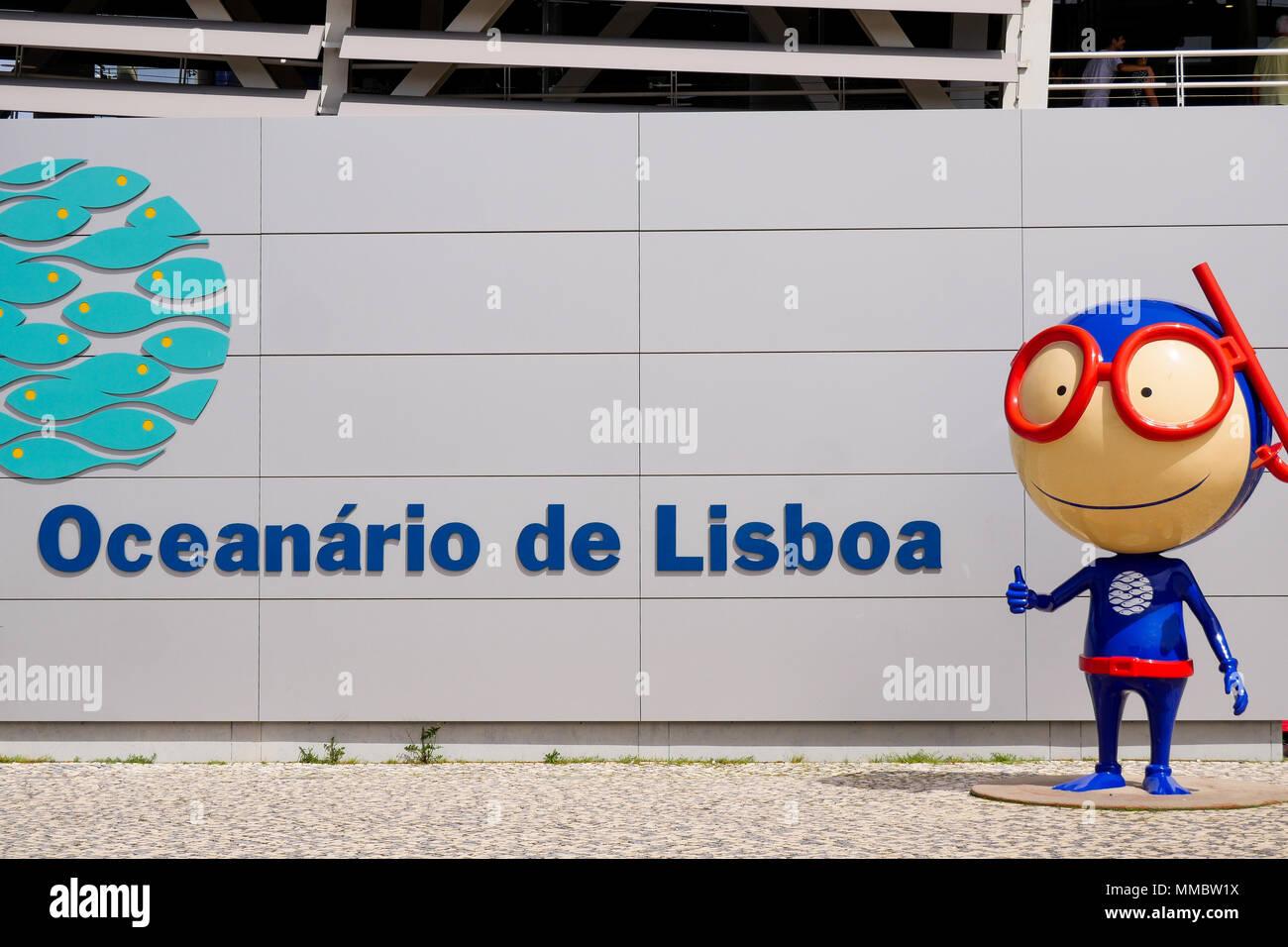 Mascot of Lisbon Oceanarium, Park of the Nations, Lisbon, Portugal - Stock Image