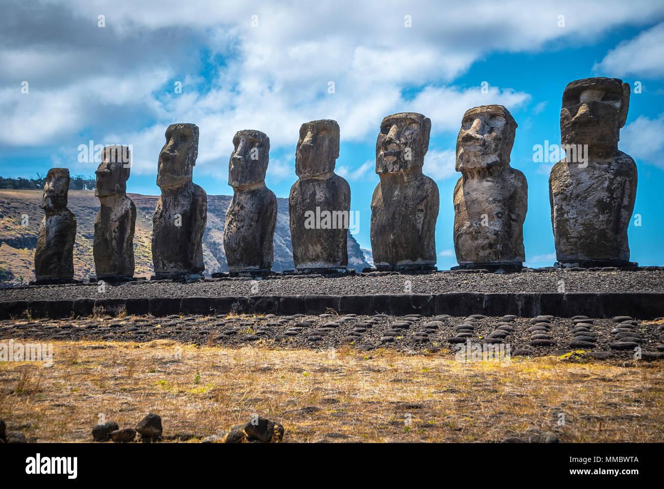 Rapa Nui Moai Statues Easter Island - Stock Image