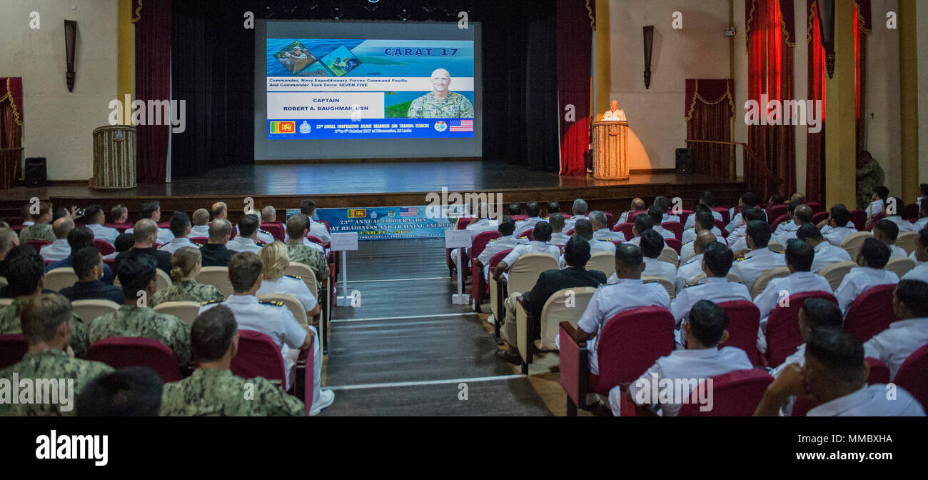 (TRINCOMALEE, Sri Lanka) – U.S. Navy Capt. Robert Baughman, Commander, Navy Expeditionary Forces Command Pacific and Commander Task Force Seven Five, shares remarks during the closing ceremony of Cooperation Afloat Readiness and Training (CARAT) Sri Lanka 2017 in Trincomalee, Sri Lanka, Oct. 6, 2017. CARAT is an annual, bilateral maritime exercise series designed to boost interoperability between partner nations that contributes to regional security and stability by sharing best practices and cooperation in response to shared maritime security challenges.  (U.S. Navy Combat Camera photo by Inf Stock Photo