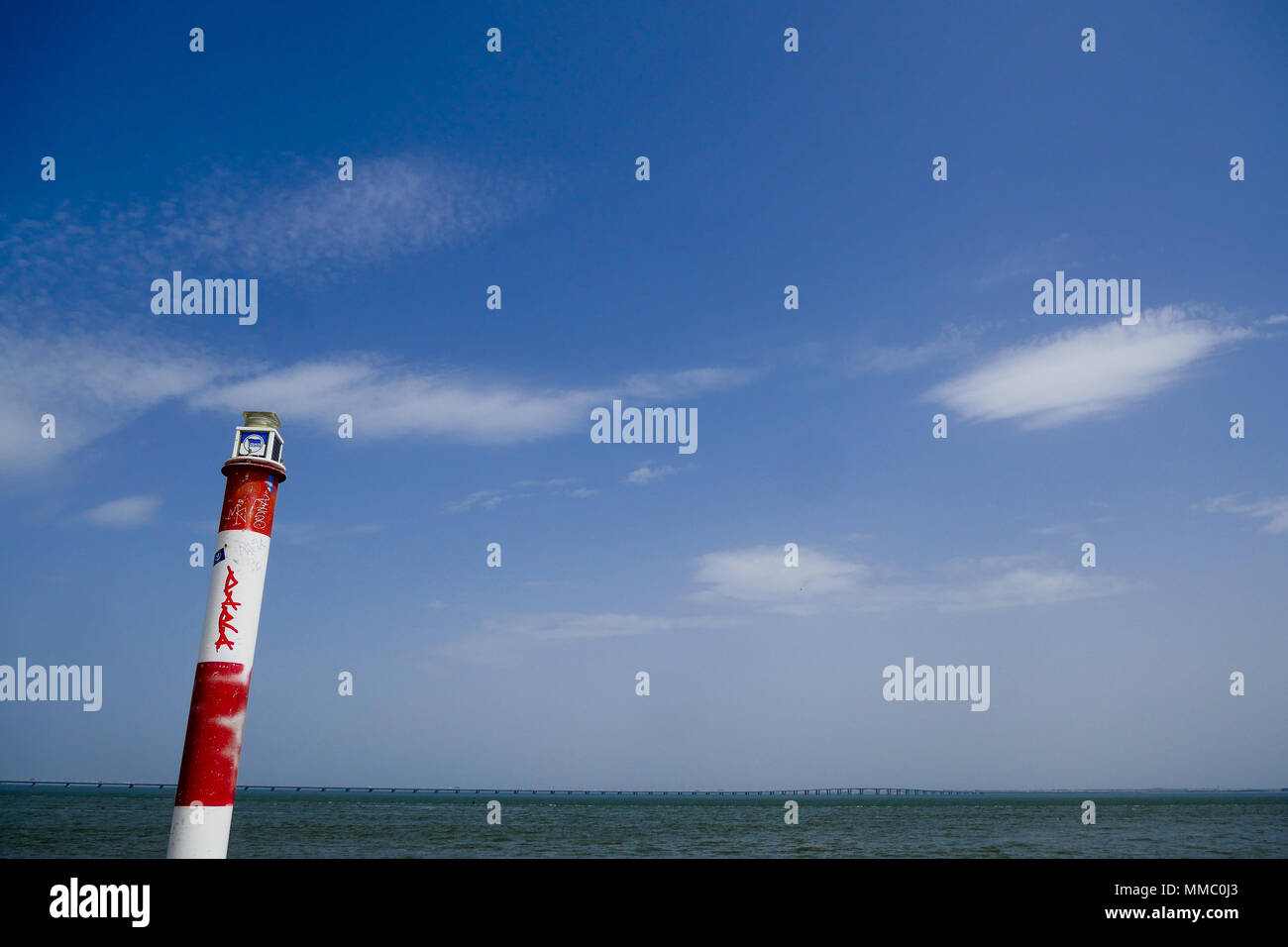 Red and white semaphore on the Tage Banks, Park of the Nations district, Lisbon, Portugal - Stock Image
