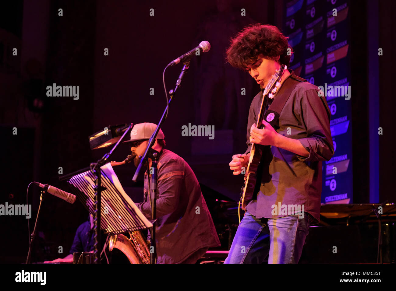 Winner of the 2017 LetterOne RISING STARS Jazz Award, Tom Ibarra performing at the Cheltenham Jazz Festival, Cheltenham ,UK. May 4, 2018 - Stock Image