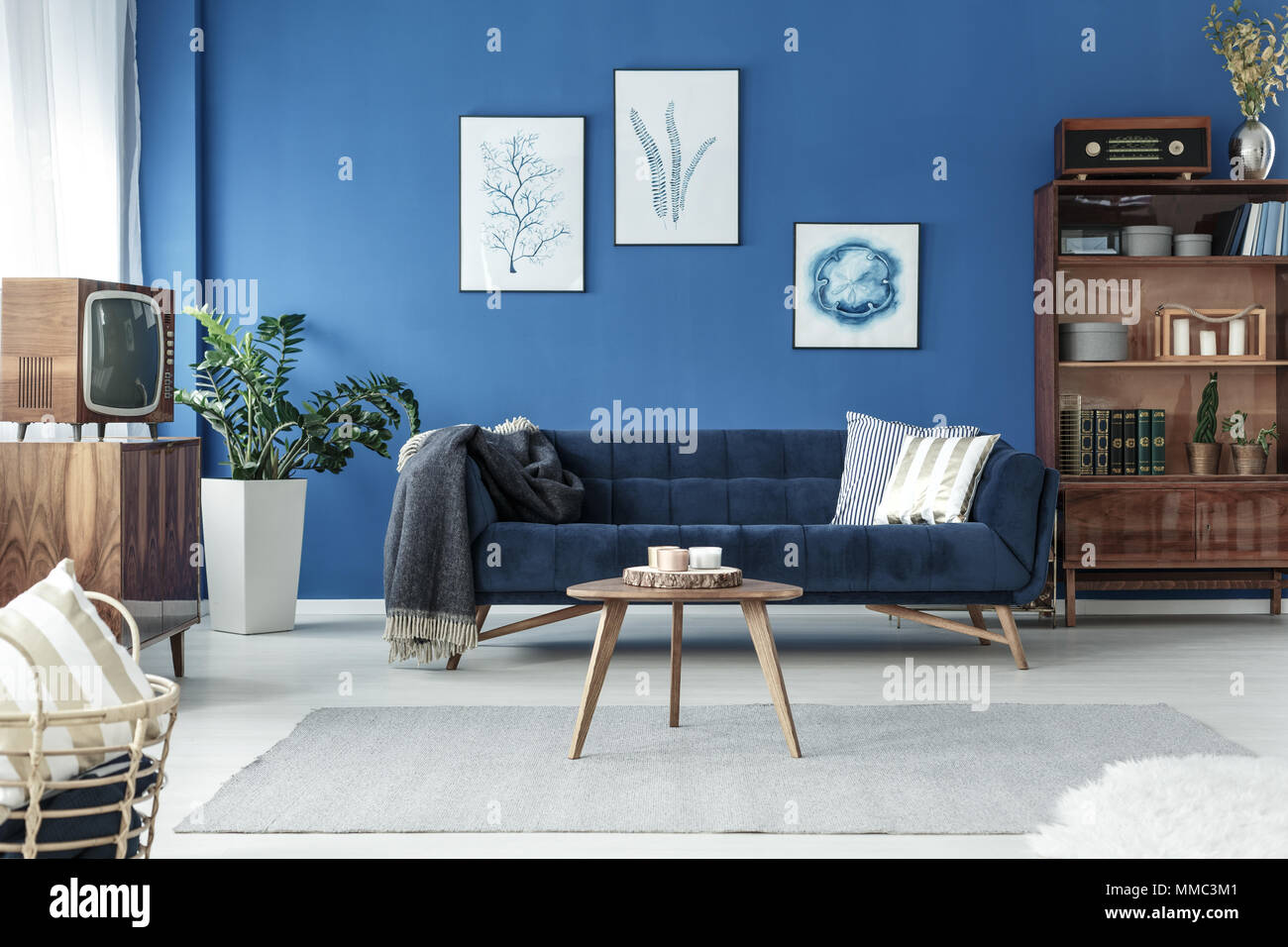 Spacious cozy living room designed in vintage style Stock Photo