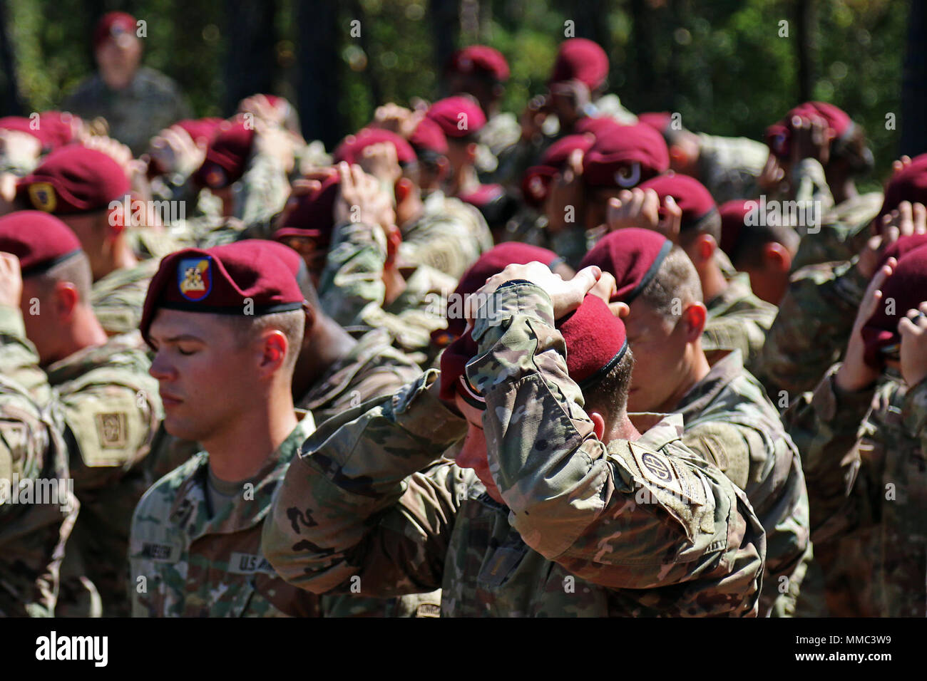 8f3883e9 New 82nd Airborne Division Paratroopers don maroon berets during the  Airborne Integration Course Beret Donning Ceremony
