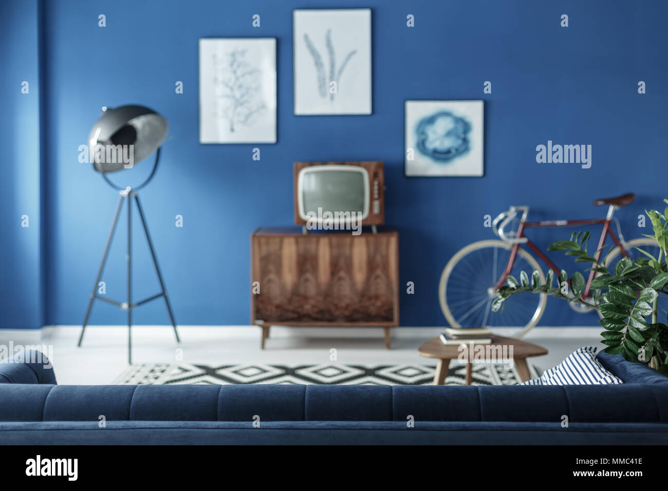Small old fashioned television in retro style living room Stock ...