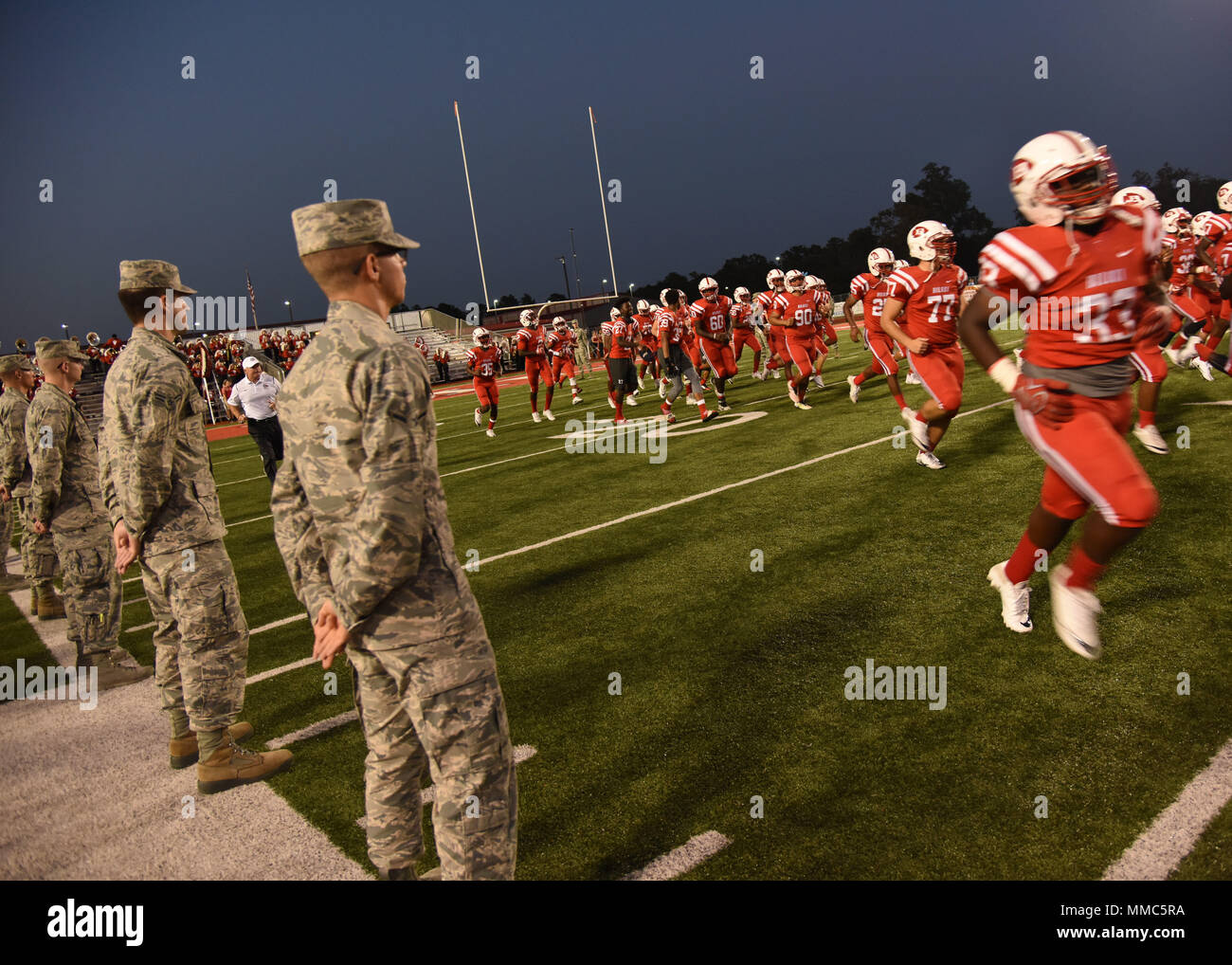 Keesler Airmen Line The Field During A Biloxi High School Military