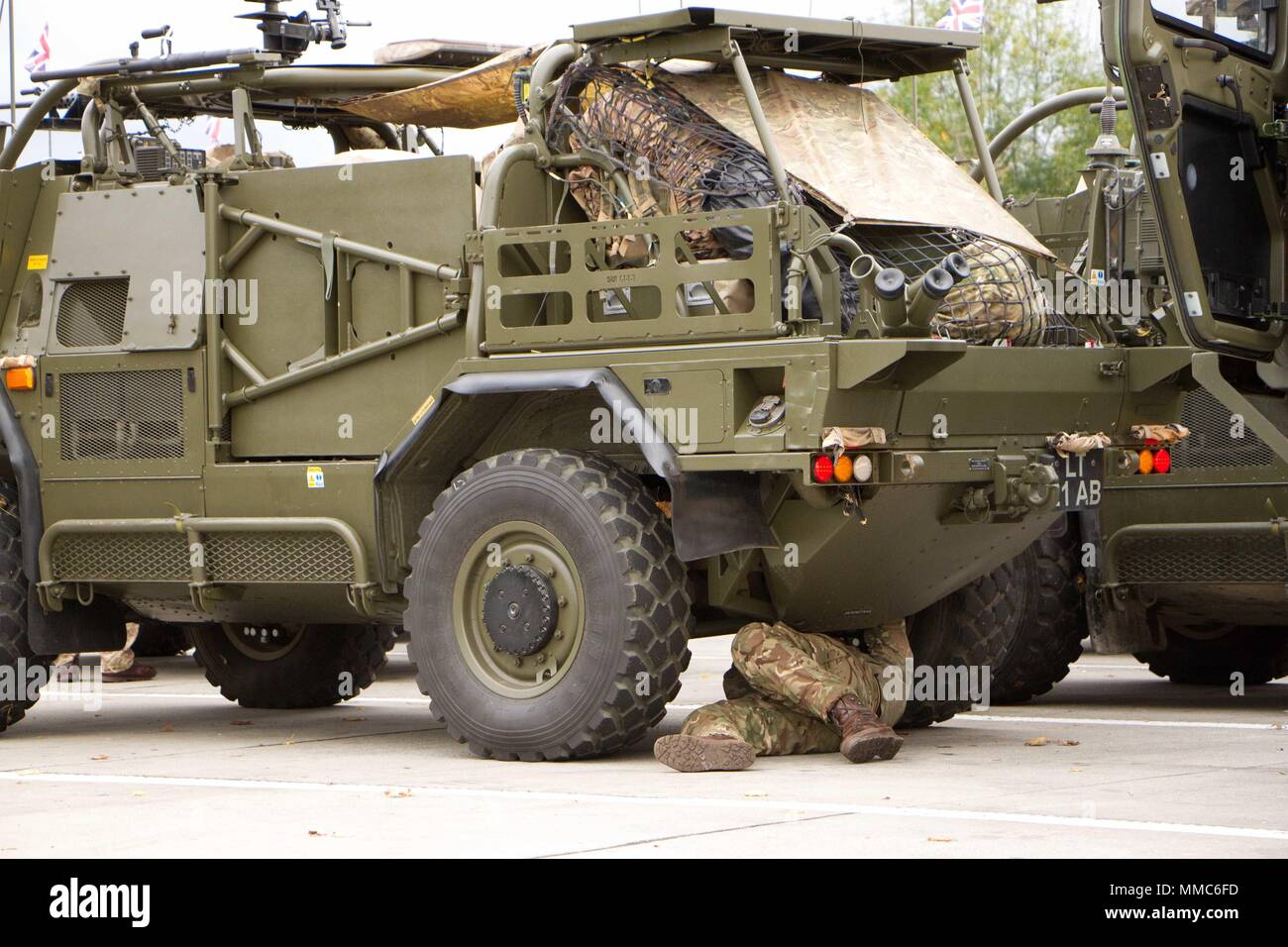 A Soldier Assigned To Balaklava Squadron Light Dragoons Regiment British Army Checks His Vehicle At A Rest Stop In Germany Oct 11 2017 During A 1 100 Km Road March From Rose Barracks