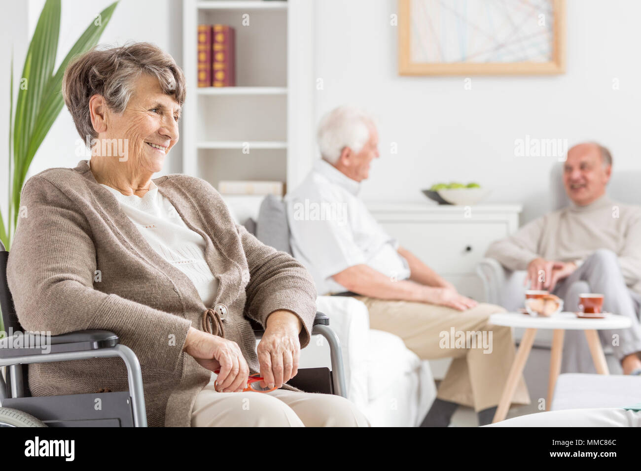 Elders Spending Time Together At Nursing Home Stock Photo Alamy
