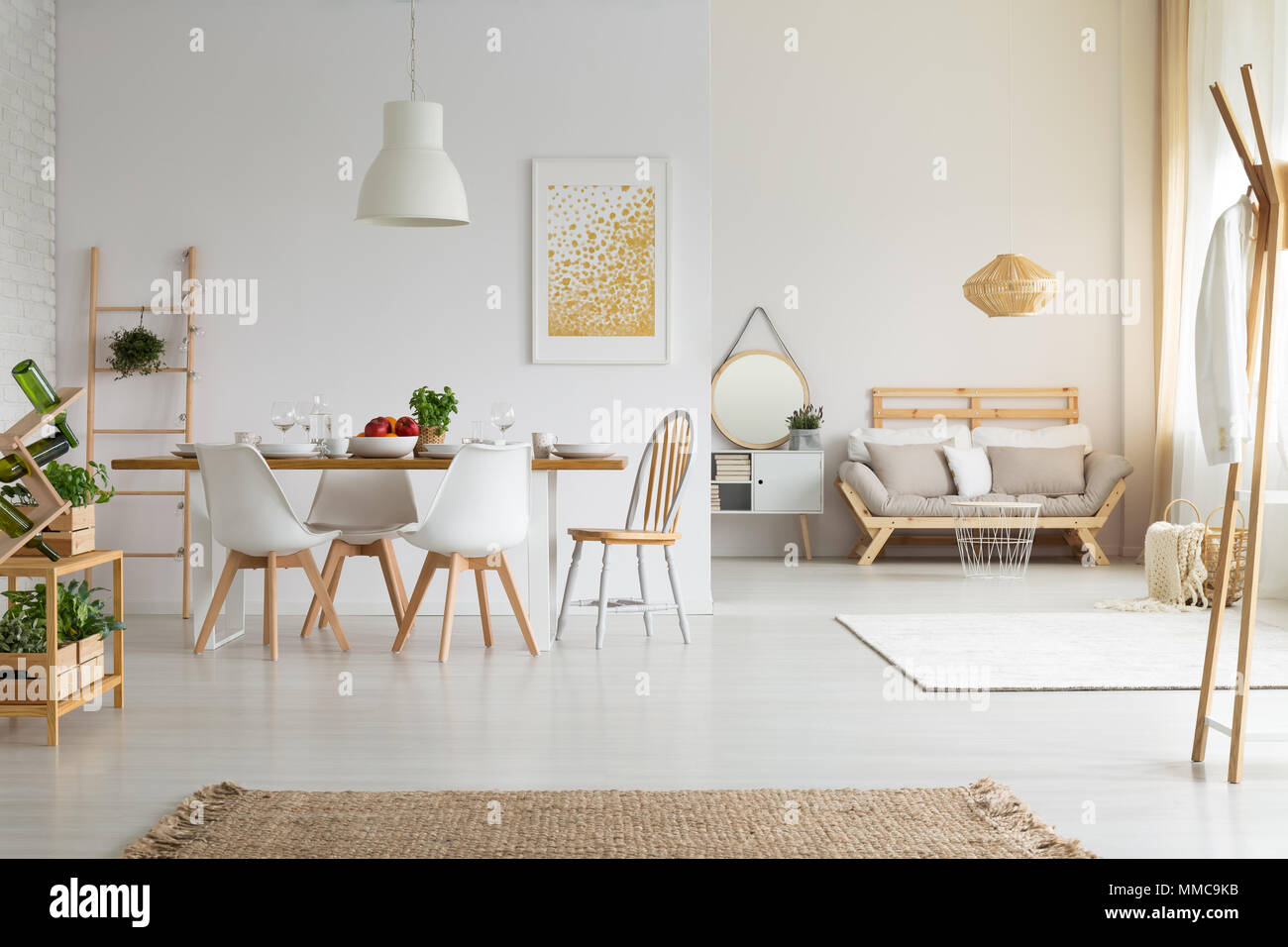 Simple bright dining room in slow life trend Stock Photo