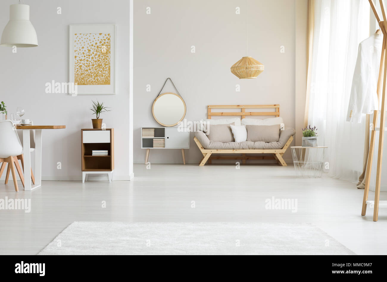 Sunlight in white and spacious living room Stock Photo: 184667847 ...