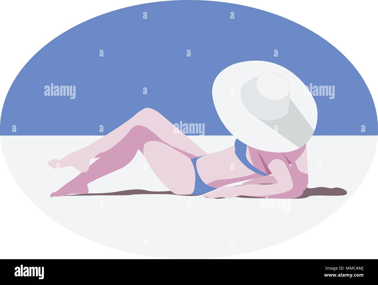 Girl in the hat on the sunny beach - Stock Vector