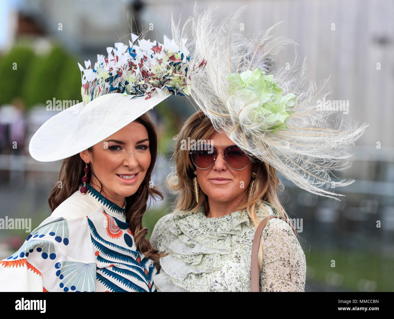 Chester Racecourse, Chester, UK. 10th May, 2018. The Boodles May Festival, Ladies Day; Ladies enjoying the day at Chester races Credit: Action Plus Sports/Alamy Live News - Stock Image