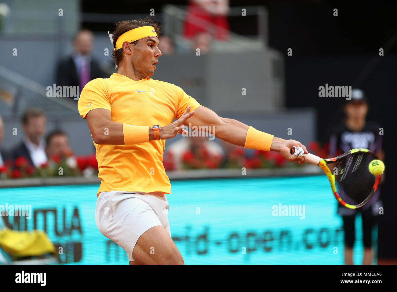 Rafael Nadal Of Spain Plays A Forehand Against Diego Schwartzman Of Argentina In Their Third Round