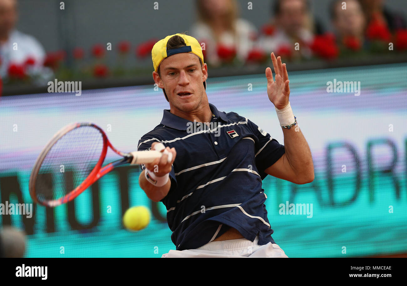 Diego Schwartzman Of Argentina Plays A Forehand Against Rafael Nadal Of Spain In Their Third Round