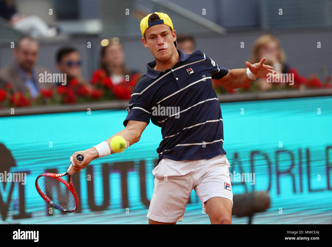 Diego Schwartzman Of Argentina Plays A Forehand Against Rafael Nadal Of Spain In Their Third Round Match During Day Six Of The Mutua Madrid Open Tennis Tournament At The Caja Magica Final