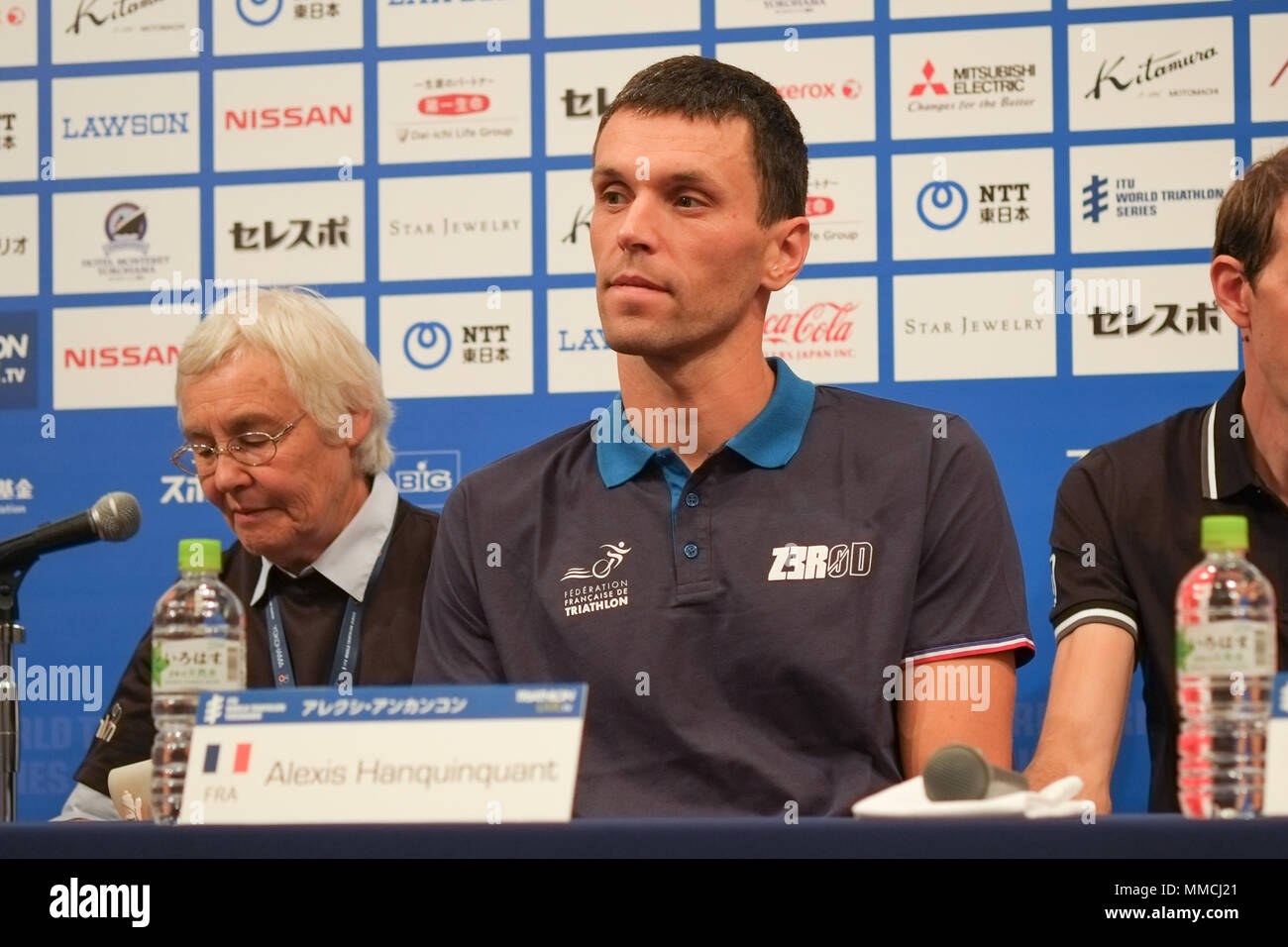 2018/05/10 Yokohama, Press Conference of the ITU World Triathlon Yokohama at the Monterey Hotel. Alexis Hanquinquant FRA (Photos by Michael Steinebach/AFLO) - Stock Image