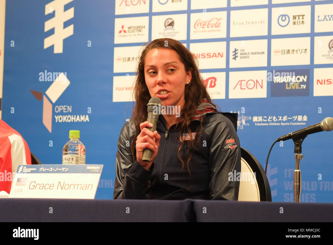 2018/05/10 Yokohama, Press Conference of the ITU World Triathlon Yokohama at the Monterey Hotel. Grace Norman USA (Photos by Michael Steinebach/AFLO) - Stock Image