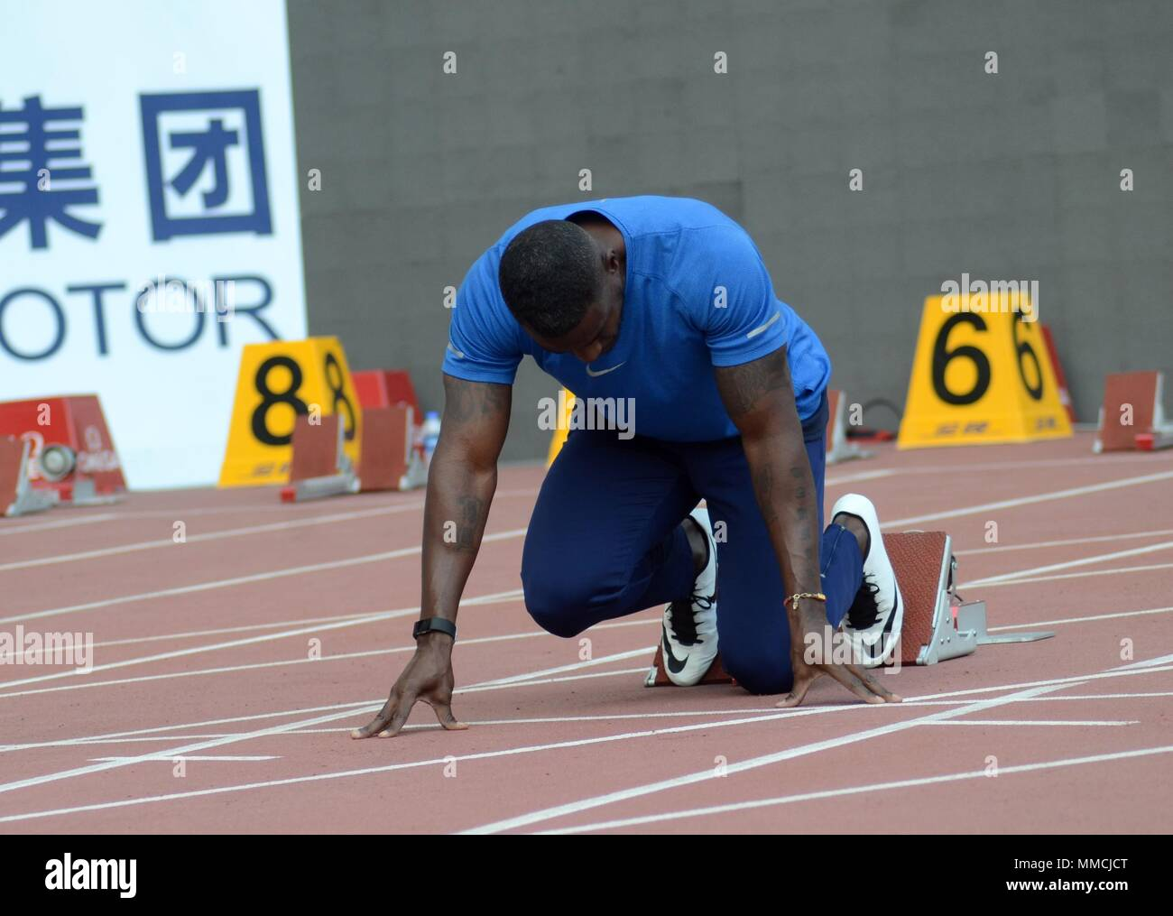 Shanghai, Shanghai, China. 10th May, 2018. Shanghai, CHINA-10th May 2018: American athlete Justin Alexander Gatlin prepares for the upcoming IAAF (International Association of Athletics Federations) Diamond League 2018 in Shanghai, May 10th, 2018. Credit: SIPA Asia/ZUMA Wire/Alamy Live News - Stock Image