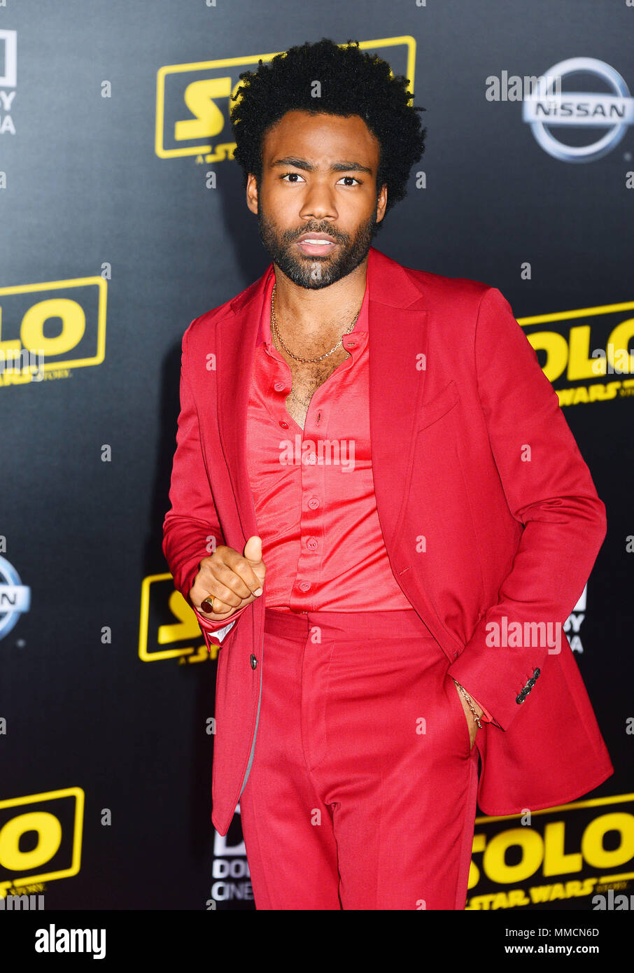 Los Angeles, USA. 10th May, 2018. Donald Glover attends the premiere of Disney Pictures and Lucasfilm's 'Solo: A Star Wars Story' on May 10, 2018 in Hollywood, California. Credit: Tsuni / USA/Alamy Live News - Stock Image