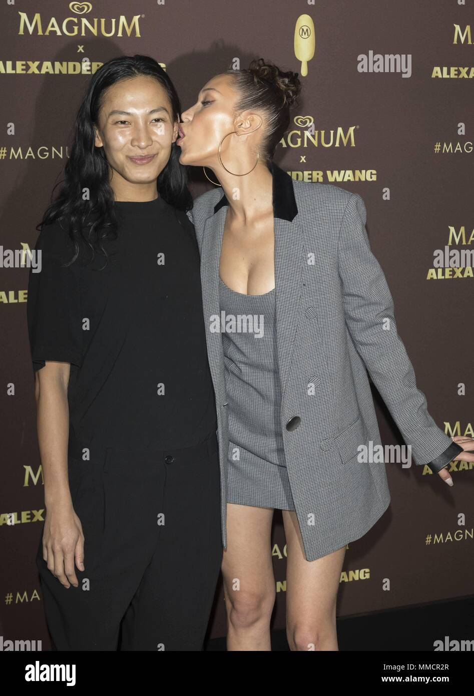 17898aec4de0 Alexander Wand and Bella Hadid attend the party of 'Magnum X Alexander Wang'  during the 71st Cannes Film Festival at L'Ondine Beach in Cannes, France,  ...