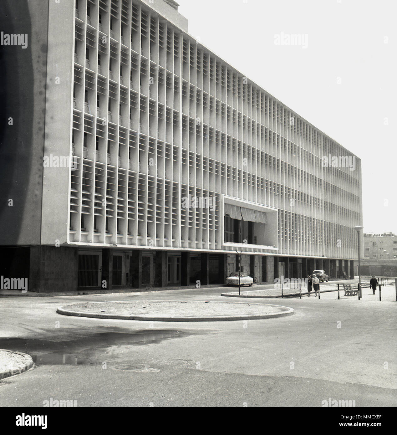 1960s, exterior view of a very large modern sixties style office block building in Tel Aviv, israel. - Stock Image