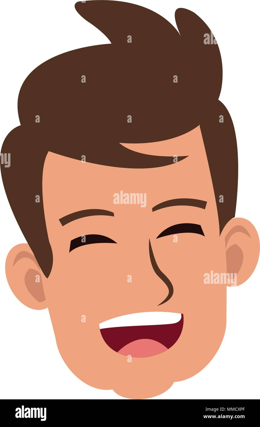 Young man face laughing - Stock Vector